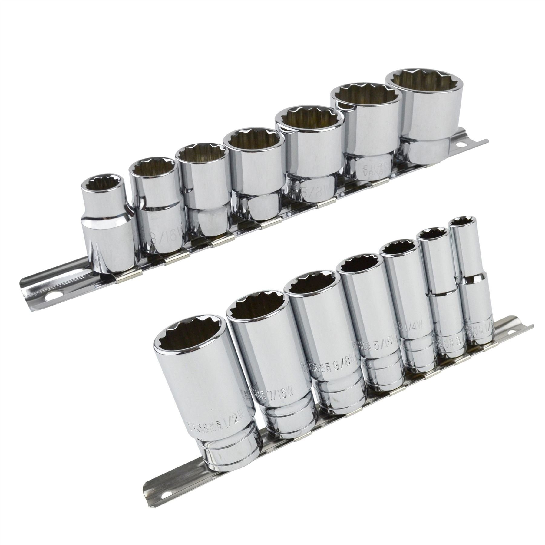 Whitworth BSF BSW 3/8'' Drive Shallow And Deep Sockets 14pc 12 Sided Bi-Hex by AB Tools-Laser