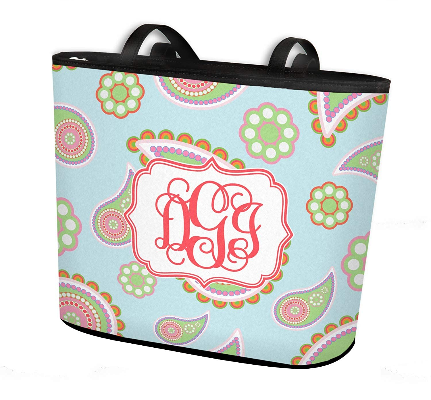 Regular w//Front /& Back Design Blue Paisley Bucket Tote w//Genuine Leather Trim Personalized