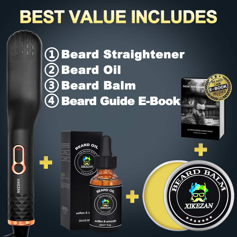 Beard Straightener w/Beard Balm & Beard Growth Oil & Beard Guide E-Book,UPGRADED 3 in 1 Hair Straightener Brush Beard Straightening Comb,Unique Stocking Stuffers Gifts for Men Women Him