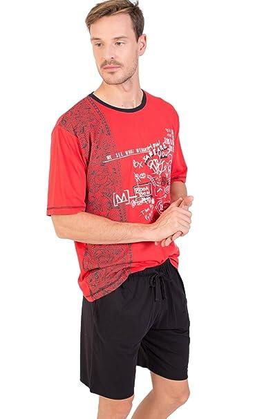 MASSANA Pijama Hombre Verano Algodón P181340-Rojo Intenso (M)