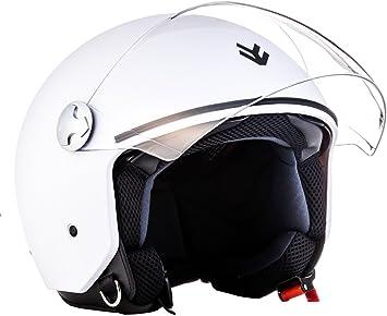 "61-62 Wei/ß /· Jet-Helm /· Roller Scooter-Helm Chopper Mofa Bobber Motorrad-Helm /· ECE certified /· Separate Visors /· Click-n-Secure Clip /· Tragetasche /· XL ARMOR /· AV-63 /""Matt White/"""