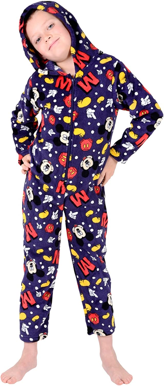 Disney Mickey Mouse Boys Onesie Pyjamas Soft All in One Jump Play Suit Ages 4-5 Navy