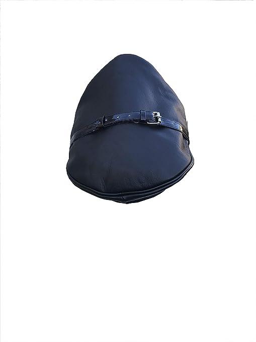 Genuine Real Leather Black Army Muir Biker Peaked Police Gay Military Cap Hat
