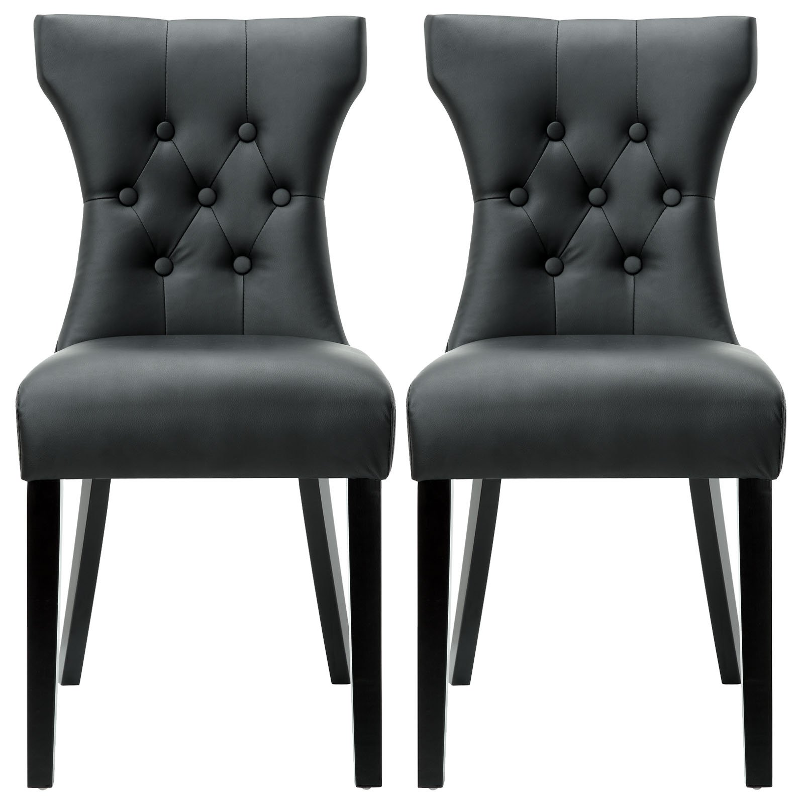 Modway Silhouette Modern Tufted Faux Leather Upholstered Parsons Two Kitchen and Dining Room Chairs in Black by Modway