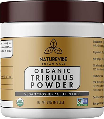 Naturevibe Botanicals USDA Organic Gokshura Powder 8 Ounces – Tribulus Terrestris – 100 Pure Natural Supports Immune System Packaging May Vary