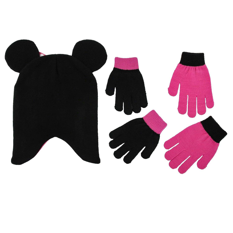 Disney M/ädchen Minnie Mouse Tupfen-Hut und 2 Paar Handschuhe oder Handschuhe Cold Weather Zubeh/ör-Set Alter 4-7 Hat /& 2 Paar Handschuhe Set Schwarz//Dark Pink Handschuhe Set