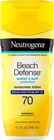 Neutrogena Beach Defense Water Resistant Sunscreen Body Lotion with Broad Spectrum SPF 70, Oil-Free and Fast-Absorbing, 6.7