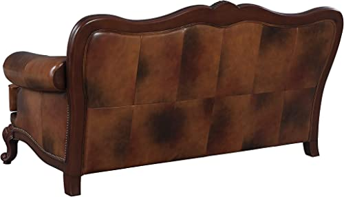 Victoria Classic Rolled Arm Sofa Tri-tone Warm Brown