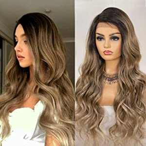 K'ryssma Ash Blonde Lace Front Wig Ombre Side Deep Parting Long Wavy Ombre Synthetic Wigs 22 inch 130% Density Heat Resistant Ombre Blonde Wigs
