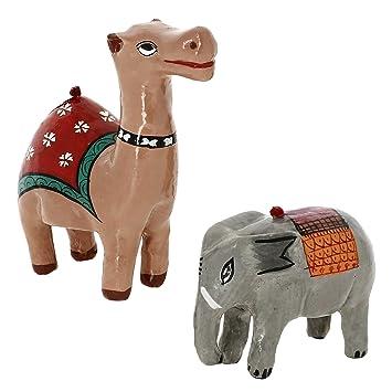 Papel Maché Animales Decoración Adornos De Navidad Camello Y El Elefante: Amazon.es: Juguetes y juegos