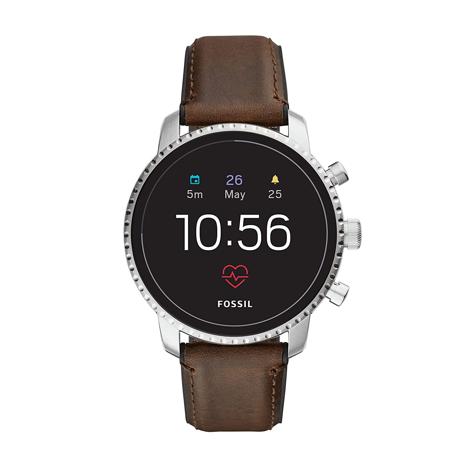 Fossil Mens Gen 4 Explorist HR Stainless Steel and Leather Touchscreen Smartwatch, Color: Silver, Brown (Model: FTW4015)