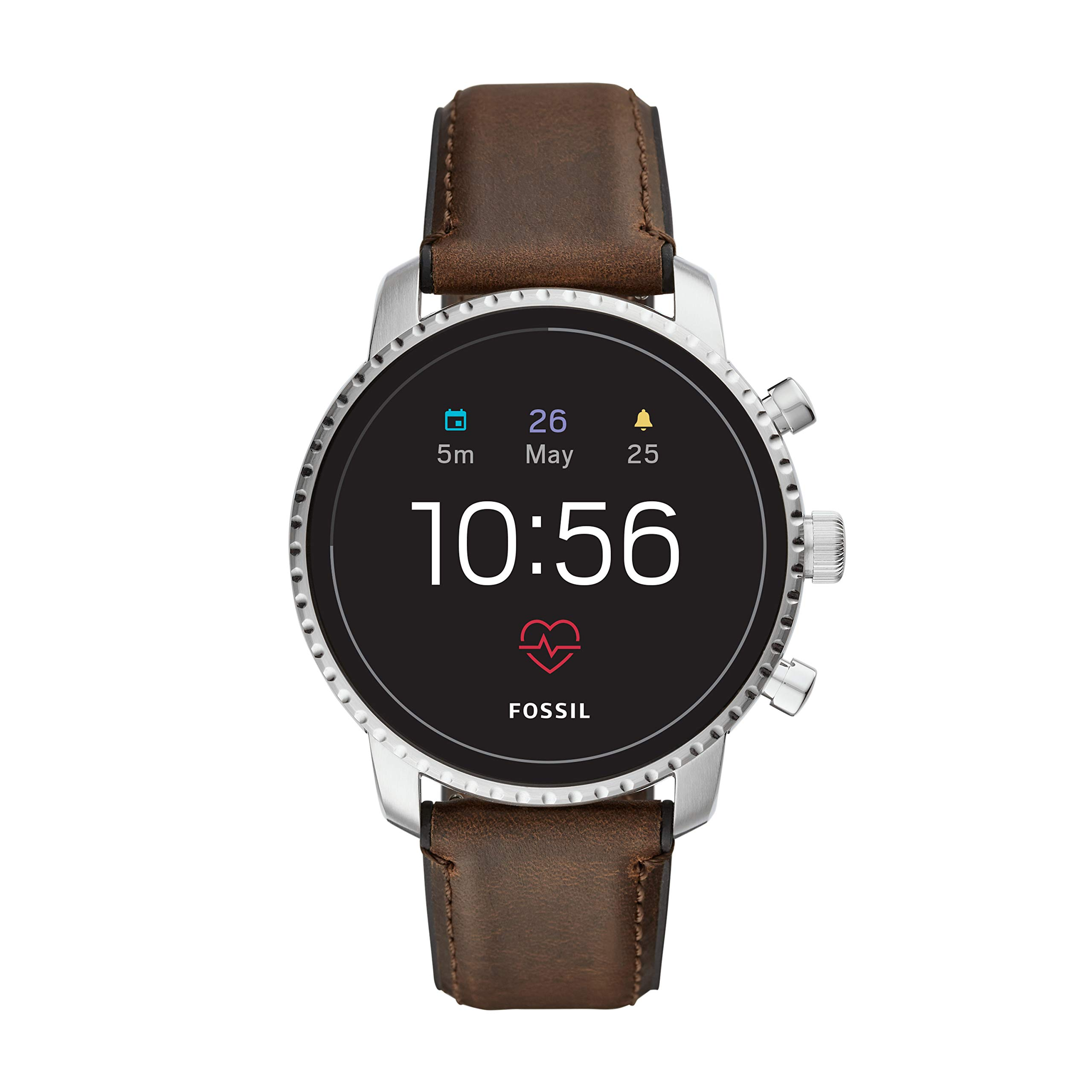 Fossil Men's Gen 4 Explorist HR Stainless Steel and Leather Touchscreen Smartwatch, Color: Silver, Brown (Model: FTW4015)