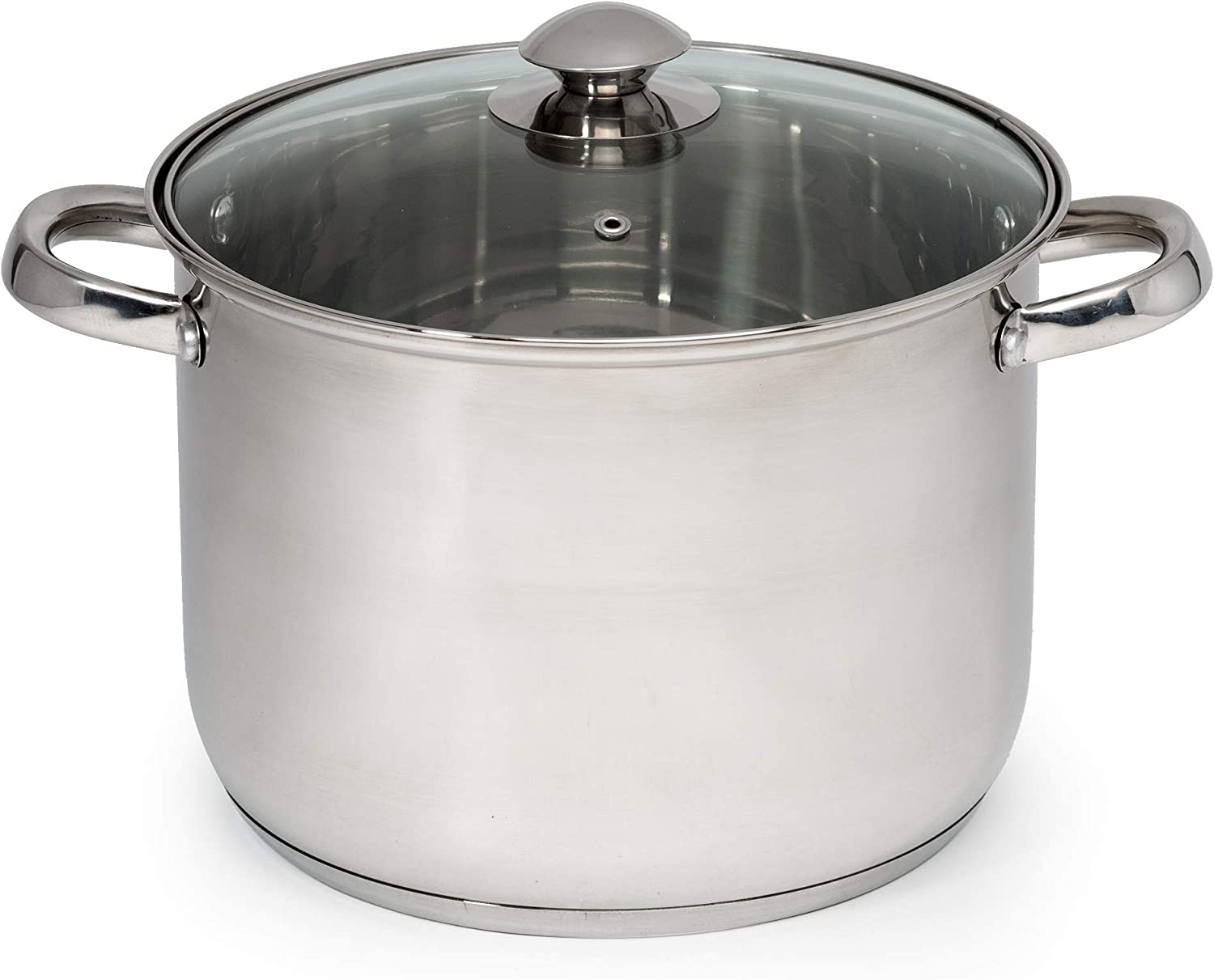 Ecolution Pure Intentions Stainless Steel Stock Pot/Stockpot with Tempered Glass Steam Vented Lid, 8 Quart