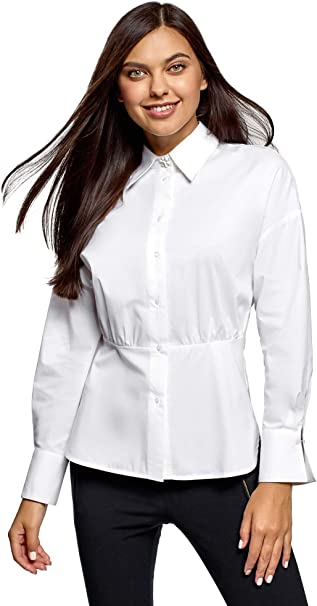 oodji Ultra Mujer Camisa Entallada de Algodón: Amazon.es: Ropa y accesorios