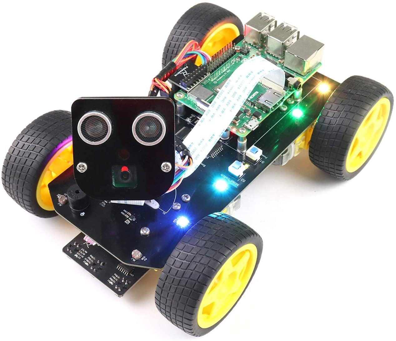 Freenove 4WD Smart Car Kit for Raspberry Pi 4 B 3 B+ B A+, Face Tracking, Line Tracking, Light Tracing, Obstacle Avoidance, Colorful Light, Camera Ultrasonic Servo Wireless RC