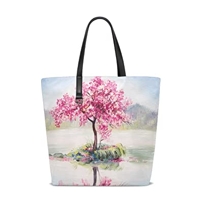 Amazon.com: ALAZA Pintura al óleo Cherry Blossom Árbol bolsa ...
