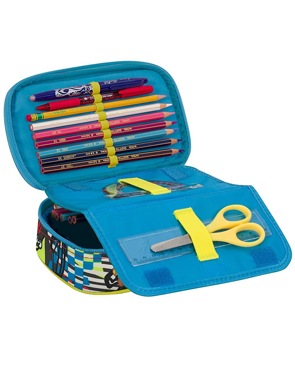 SJ BOY pencils. School Pencil Case SEVEN Fully Equippped with pens QUICK CASE Red