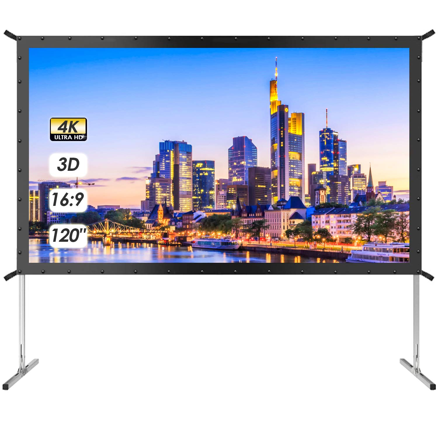 120 Inch Projector Screen with Stand - TUSY 4K HD 3D Indoor/Outdoor Foldable Projection Screens 16:9 Portable Movie Theater for Gaming Camping Cinema
