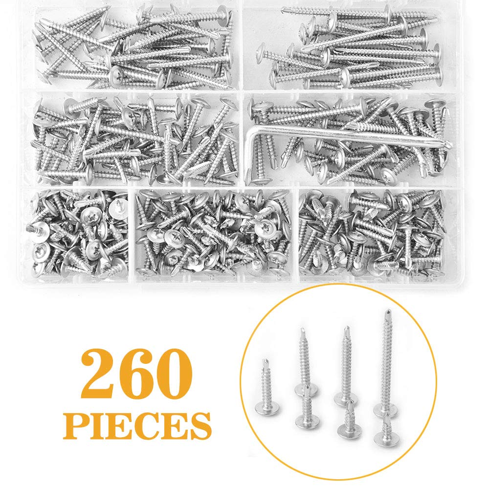 VIGRUE 260Pcs 410 Stainless Steel #8 Phillips Modified Truss Head Self-Drilling Tek Screw Sheet Metal Screw Assortment Kit with Wrench