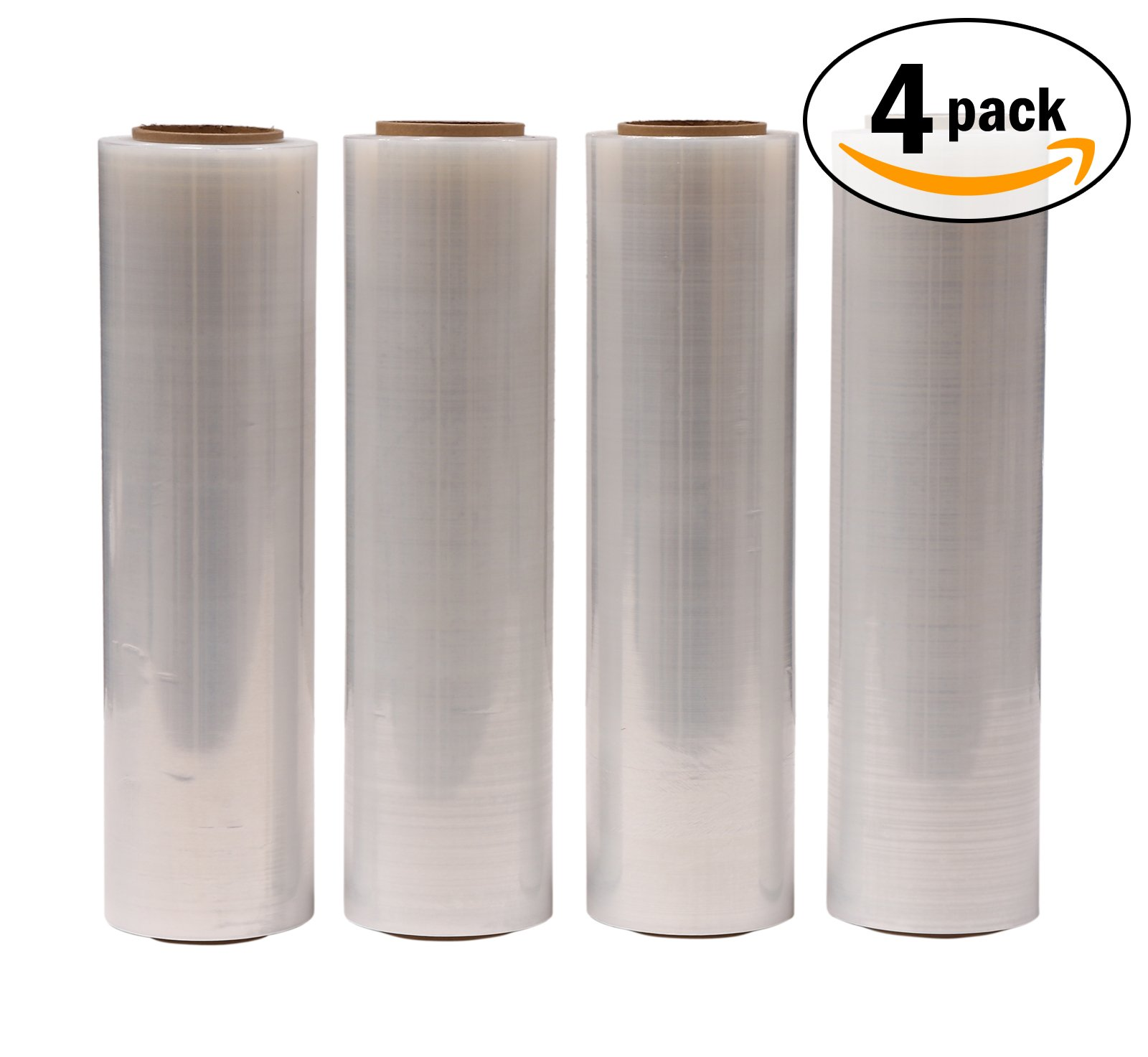 AMERIQUE Shrink Wrap 4 Pack (4000FTX18'', 25.2 LBS Total): Stretch Film Plastic Wrap - Industrial Strength Hand Stretch Wrap, 18''x 1,000 FT Per Roll, 80 Gauge Shrink Film / Pallet Wrap – Clear by AMERIQUE