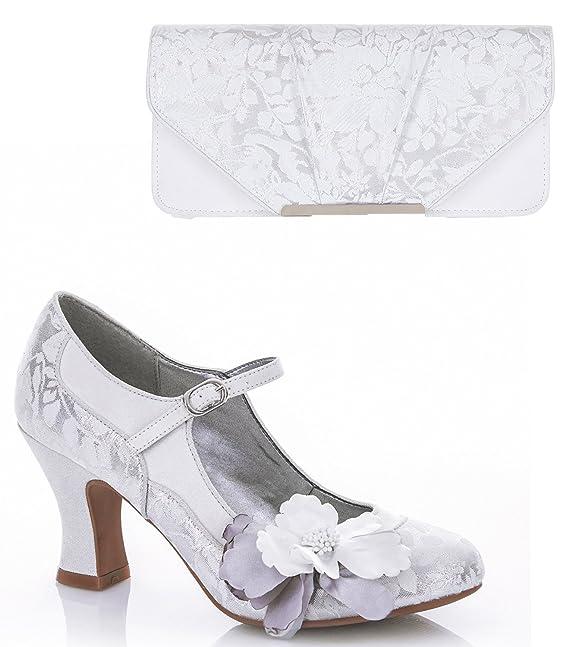 Bologna White & Silver Matching Clutch Bag Ruby Shoo MDbGLy89