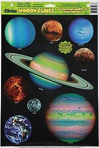 Eureka Planets Vinyl Window Clings Classroom Decorations, 12'' W x 17'' H