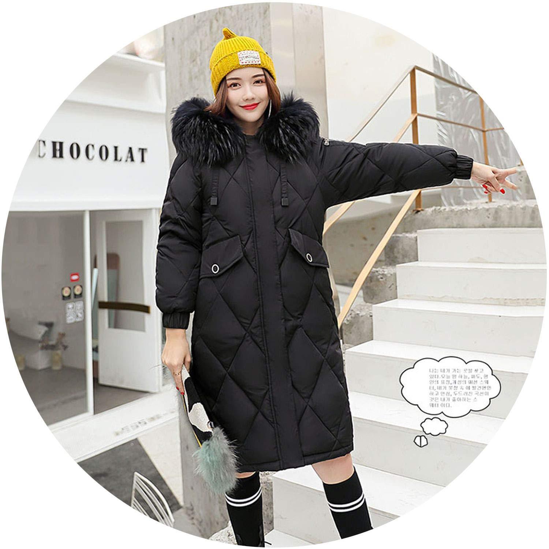 Black The small cat Winter Women Down Jacket Hooded Fur Collar Long Female Coat 2018 Winter Warm Women Duck Down Coat