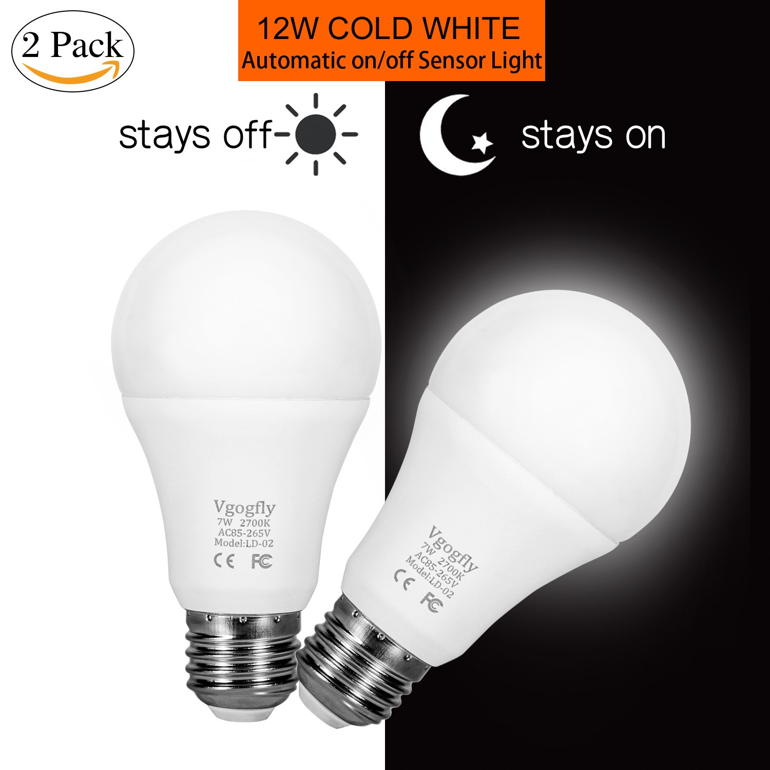 Dusk to Dawn Light Bulb 7W E26 Smart Sensor LED Bulbs Built-in Photosensor Detection with Auto Switch Outdoor Indoor LED Lighting Lamp for Porch Front Door Garage Basement (Cool White, 2 pack)