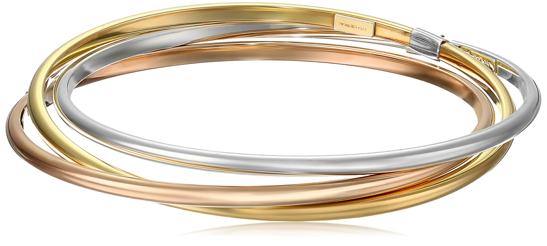 14k Gold-Bonded Sterling Silver Tri-Color Interlocking Bangle Bracelets, 8''