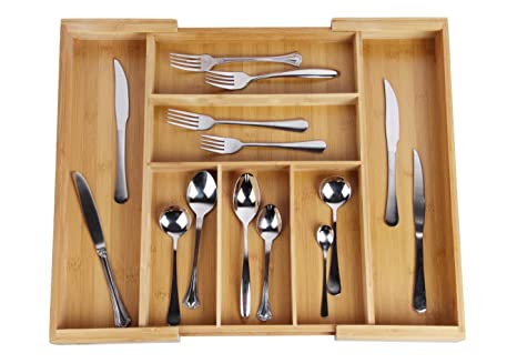 Drawer Dividers Expandable Utensil Cutlery Tray Bamboo Wooden Adjustable 7  Compartments Silverware Organizer Kitchen Storage Holder