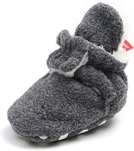 BENHERO Newborn Baby Boys Girls Cozy Fleece Stay on Booties with Grippers/ Winter Infant Slippers Socks Non Skid Crib Shoes