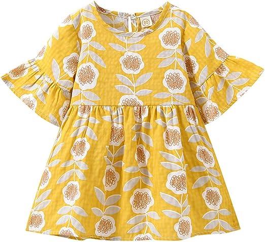 US Fox Toddler Kids Baby Girl Dress Flared Sleeve Floral Tutu Dress Clothes Set
