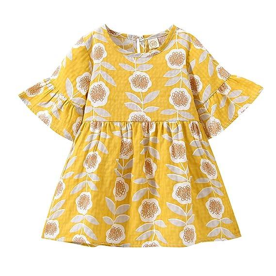Vestido para Niña Ropa Bebé Niñas Mangas cort Floral Impresión Vestidos Niña Vestido de Fiesta Vestido Princesa Niña Falda Vestidos de Princesa: Amazon.es: ...