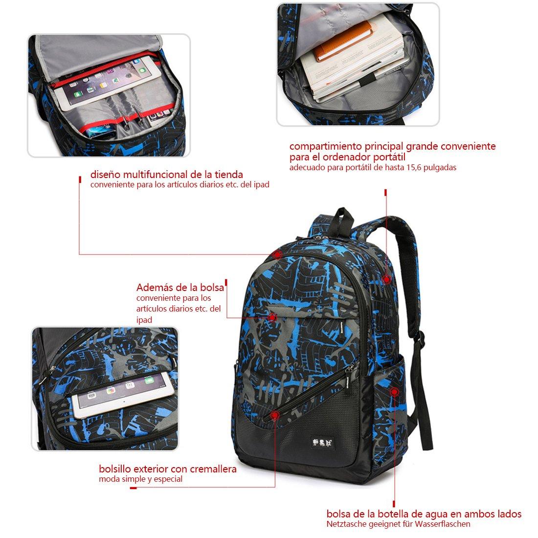 Maod juveniles Backpack Impermeables Mochila de Ordenador Impresión Bolsos Escolares portatil mochilas escolares 15.6 Pulgadas mochila (Azul): Amazon.es: ...