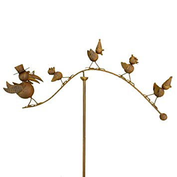 East2eden Spinning Balancing Crow Family Metal Garden Wind Spinner Ornament  Animal