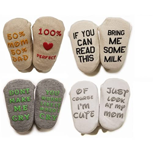 baby socks gift set unique baby shower or newborn present cute quotes 4 pair