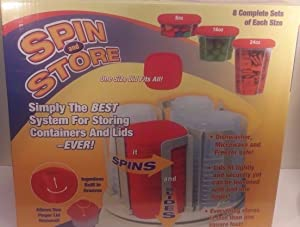 Spin and Store (8 oz, 16 oz and 24 oz, Red Lids)