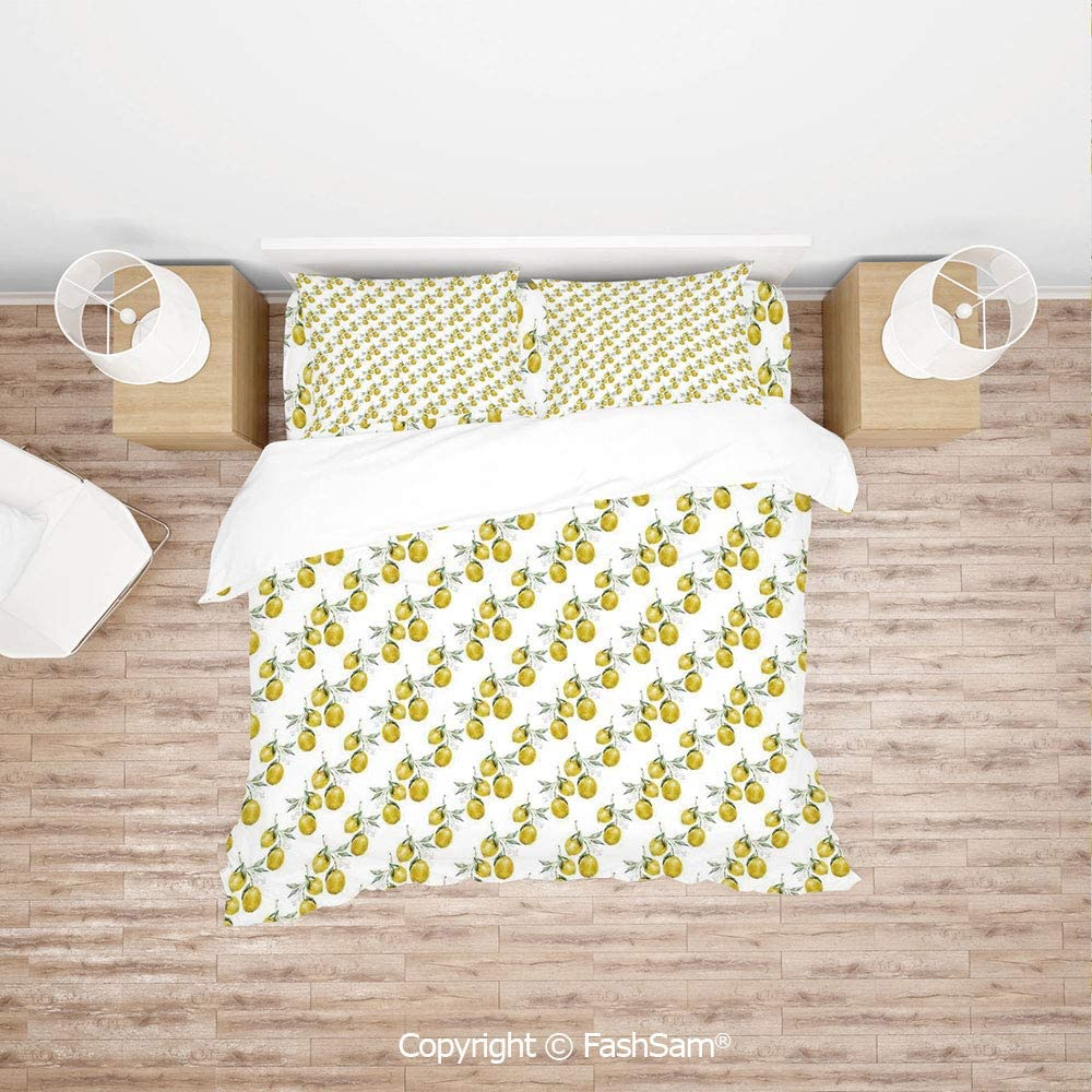 FashSam 4 Piece Bedding Sets Breathable Lemon Tree Branches Agriculture Kitchen Lemonade Citrus Figure Graphic Art for Home(King)