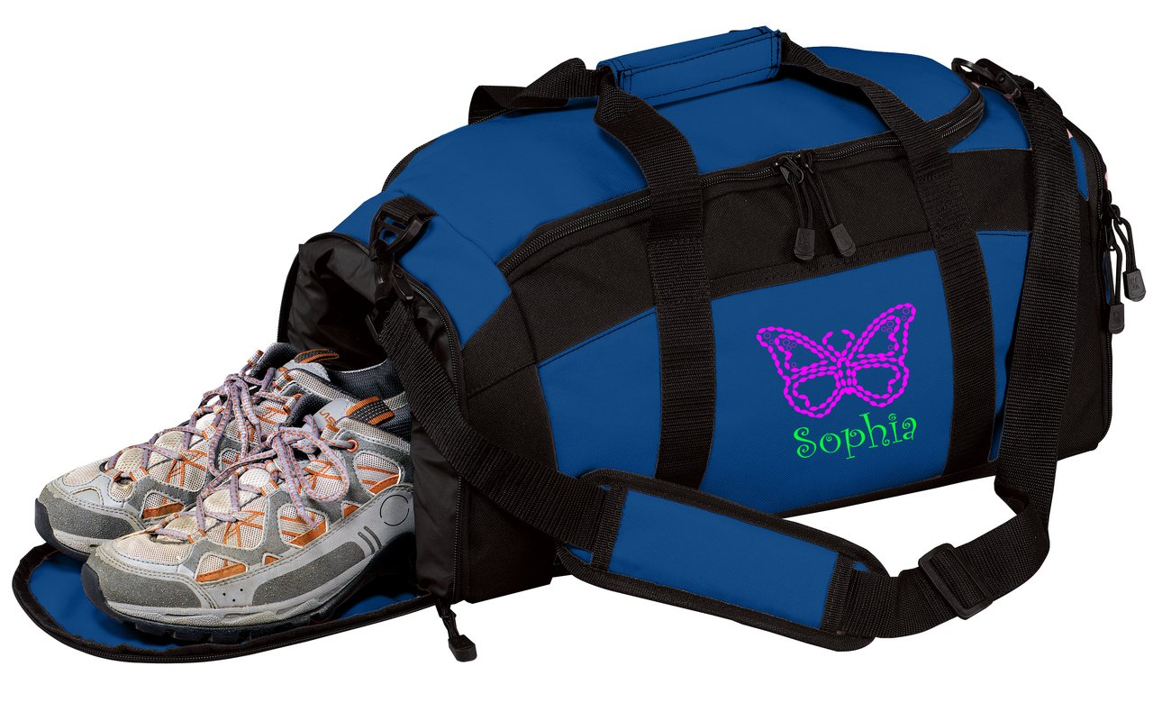 all about me company Personalized Butterfly Gym Sports Duffel Bag Maroon