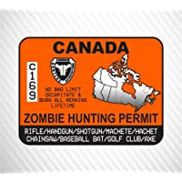 Canada Zombie Hunting Permit Vinyl Sticker Decal Outbreak Response Unit Decal For Car Truck SUV Laptop