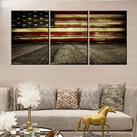 Amazon Com Native American Flag Pictures For Living Room Red White Stripes Paintings 3 Piece Prints Wall Art On Canvas Contemporary Artwork House Decor Wooden Framed Gallery Wrapped Ready To Hang 60 Wx28 H Home
