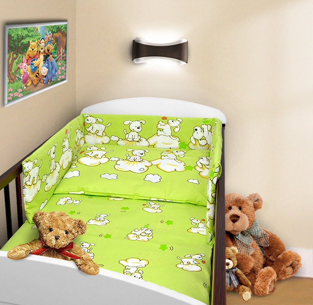 COT BUMPER 100% COTTON PADDED FOR BABY FIT COT 120x60 140x70 STRAIGHT (180cm to fit cot 120x60cm, Owls White) TheLittles24