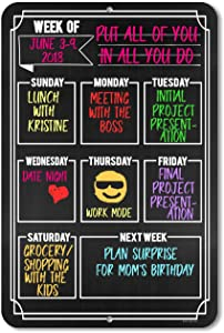 Honey Dew Gifts Chalkboard Style Weekly Calendar - Durable 12 inch by 18 inch Metal Tin Sign - Hang on Your Wall