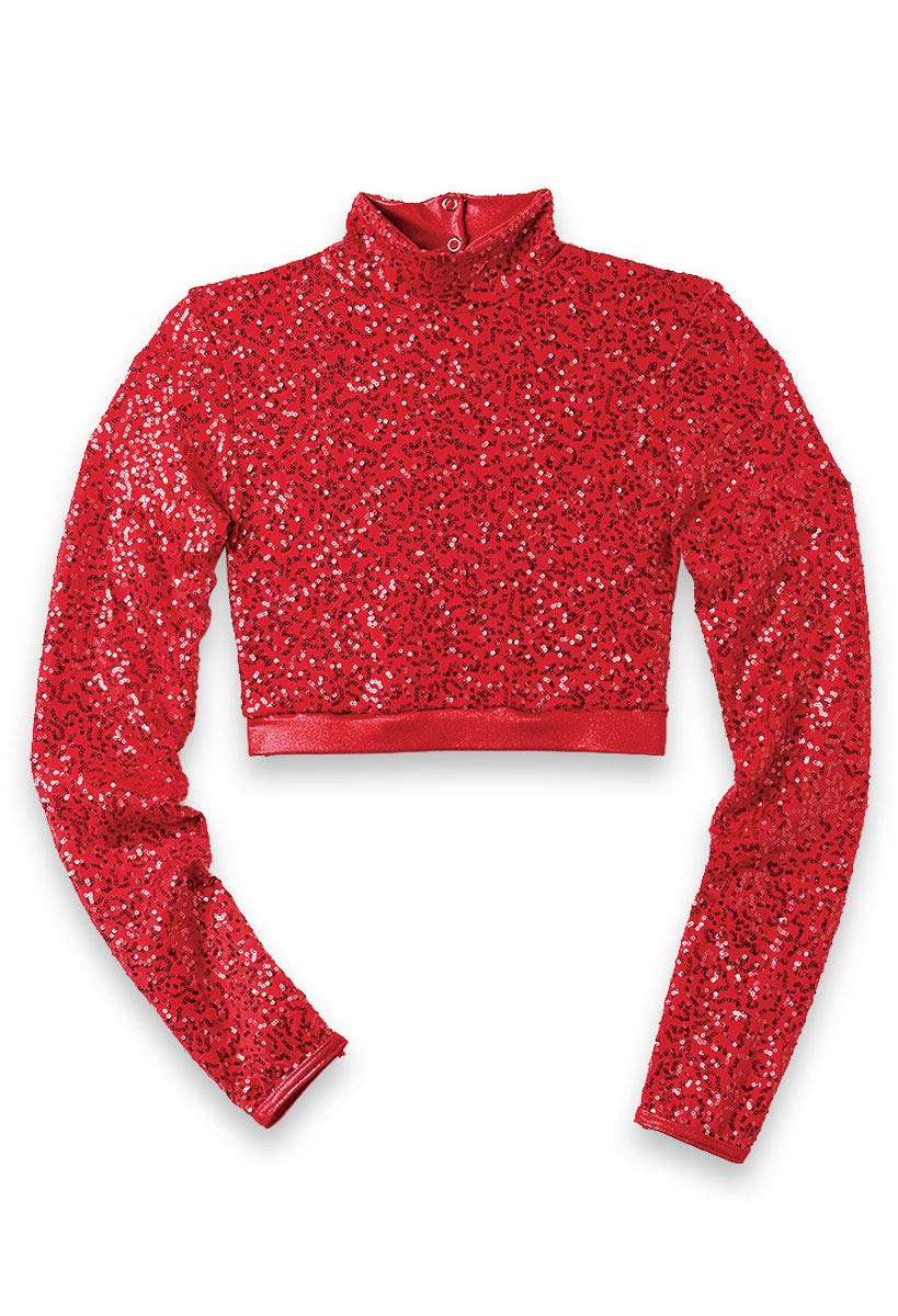 Balera Dance Crop Top Sequin Performance Mock Neck with Long Sleeves Red Adult Large by Balera