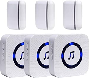 Wireless Door Open Chime Entrance Entry Alert Kit for Business Home Store 3 Receiver 3 Magnetic Door Window Sensor 52 Ringtones 4 Volume Level
