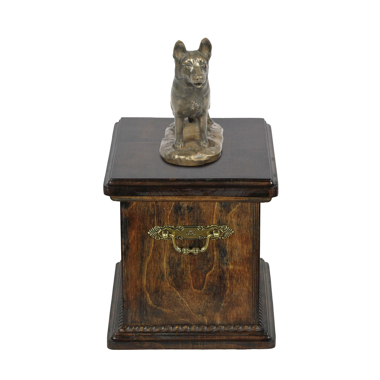 German Shepherd Dog, memorial, urn for dog's ashes, with dog statue, ArtDog