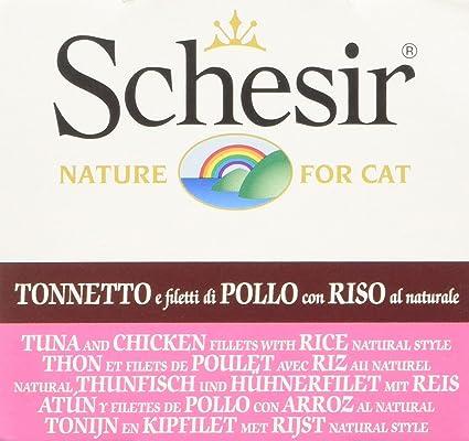Schesir Gato 85 gr atún y Pollo con arroz al Natural