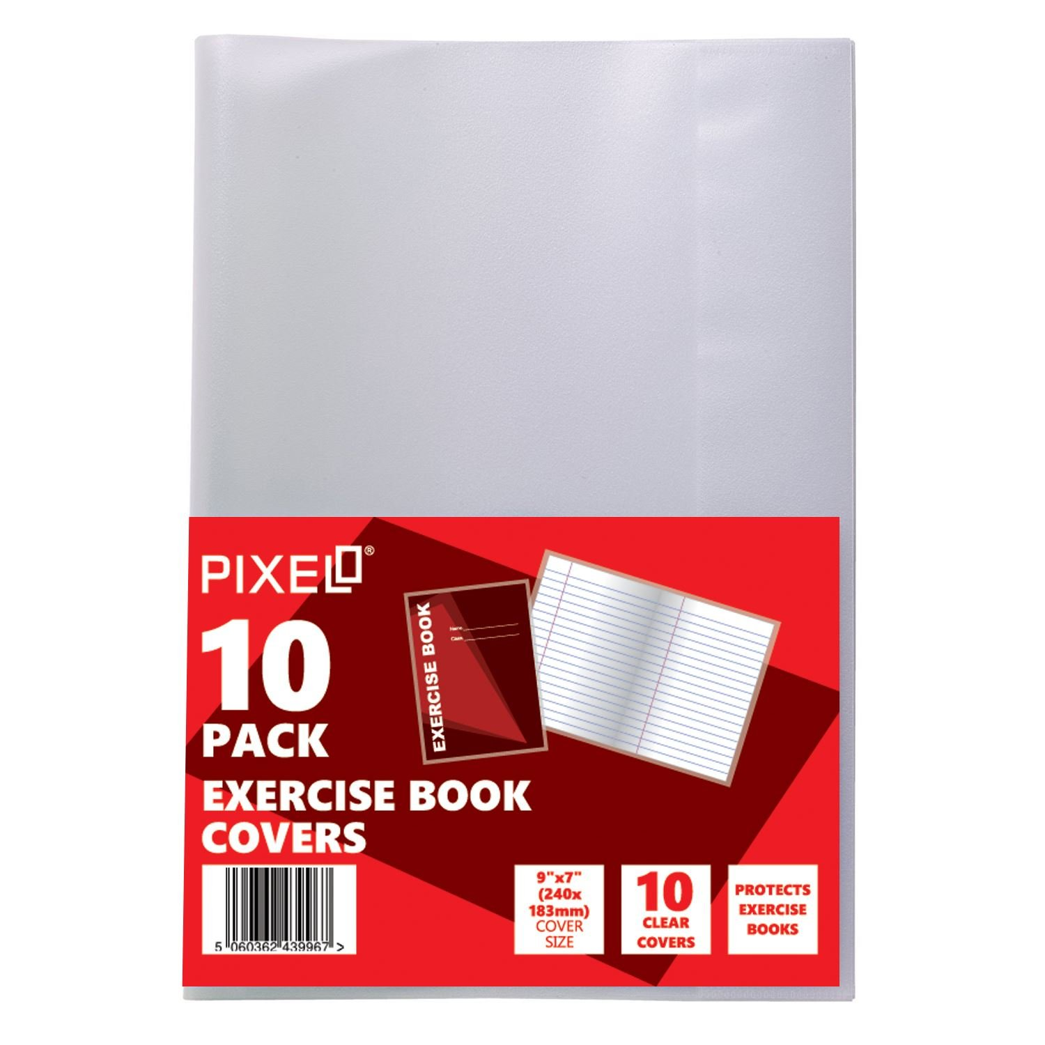 Pack of 10 Janrax A4 Exercise Book Covers Clear Plastic Sleeve School Note Book