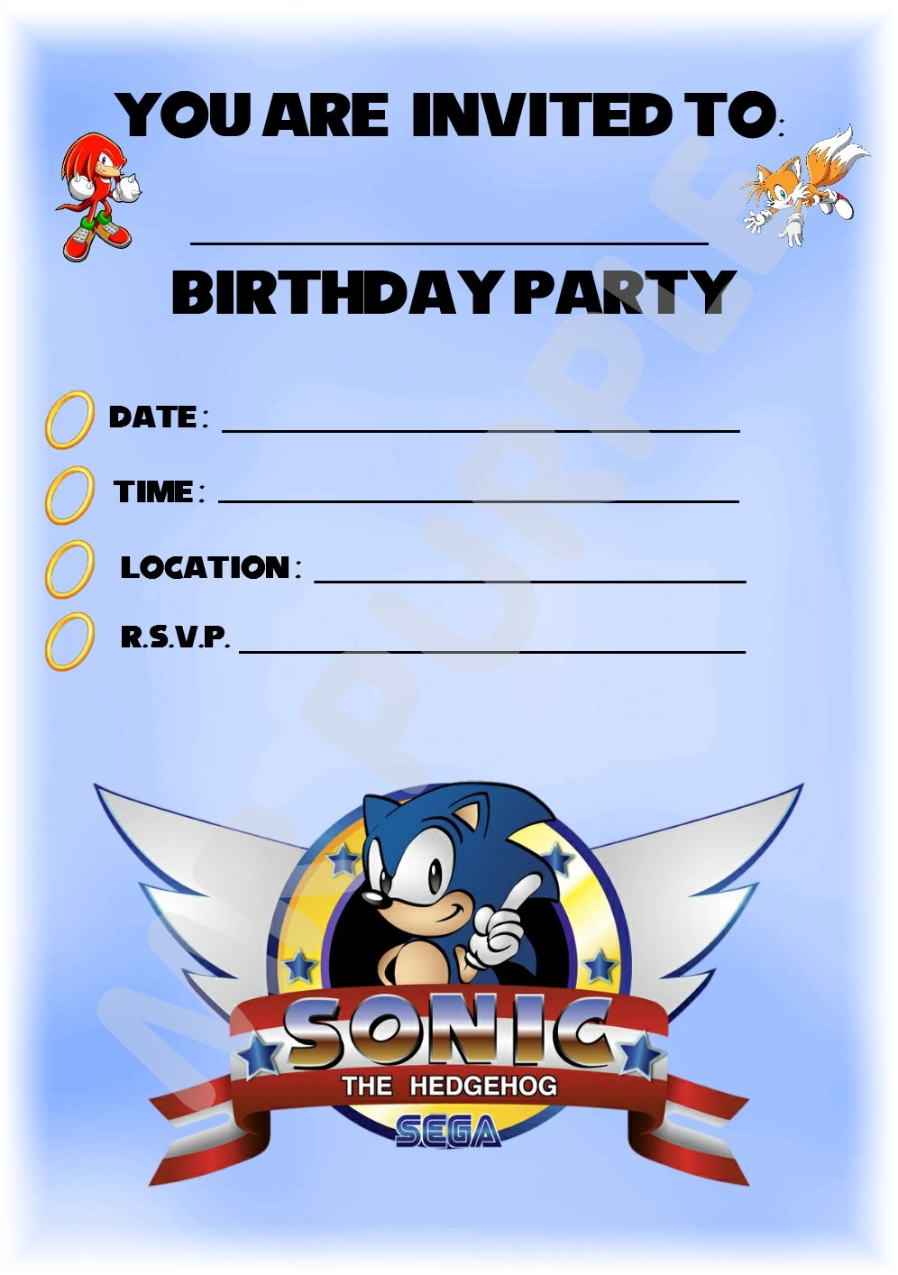 Sonic The Hedgehog Birthday Party Invite Buy Online In Suriname At Desertcart
