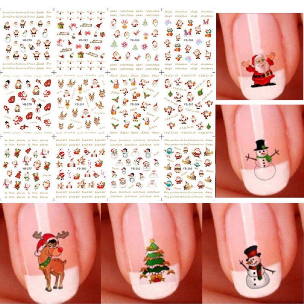 LOVEDIY Adesivo Decalcomania Natale del Chiodo, Decorazioni per Unghie Nail Art, Autoadesivi Tip, Nail Stickers, Adesivi e decalcomanie, 6 Fogli, Mdello Colore Casuale (multicolore-6Fogli)